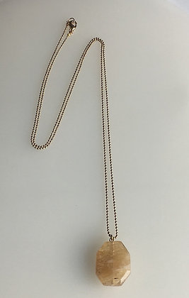 Faceted Rutilated Quartz  Pendant Necklace