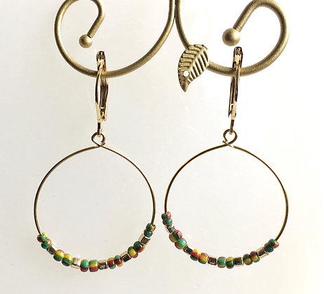 Multi Color Seed Bead Hoop Earring