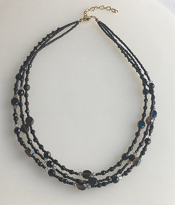 Beaded Multi Raw Jet Glass Necklace