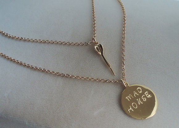 Gold Plated 15'' and 18'' Dart Charm Two Raw Necklace.