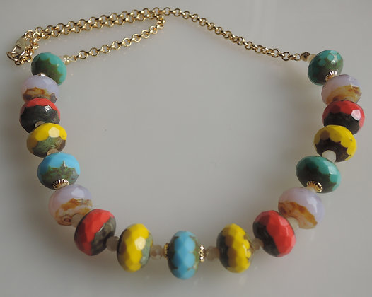 Multi Bright Glass Beaded Necklace