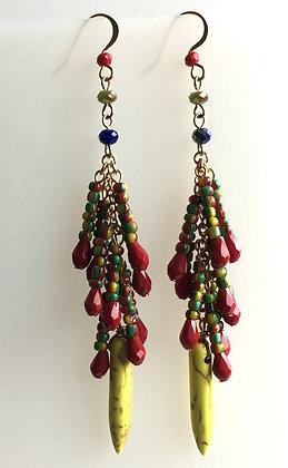 Beaded Multi Color Waterfall  Earring
