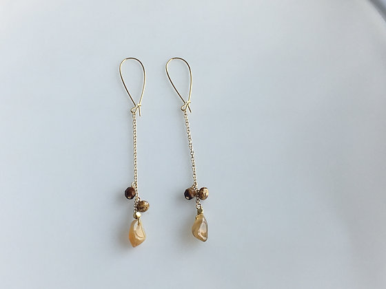 Semiprecious Linear Cluster Earring