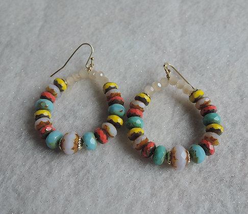 Multi Bright Beaded Hoop Earrings