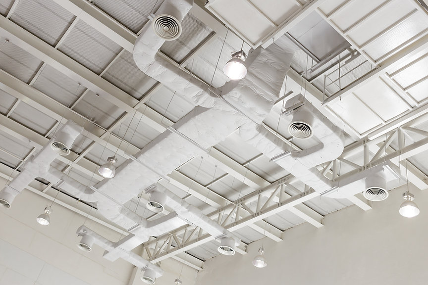 Indoor ventilation system on hight ceili