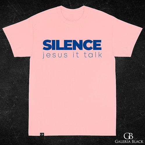 Camiseta Manga Curta Silence Rosa Bebê