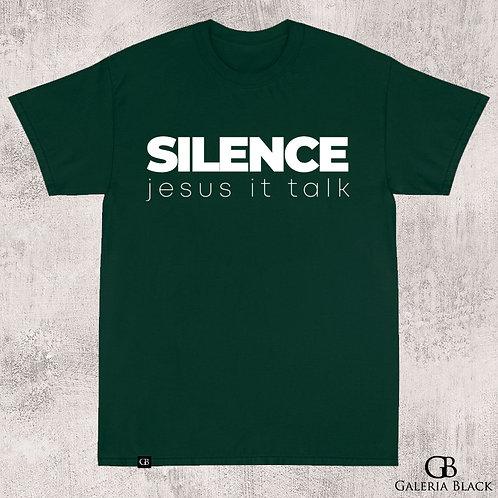 Camiseta Manga Curta Silence Verde Folha