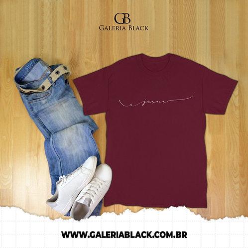 Camiseta Manga Curta Jesus Bordô