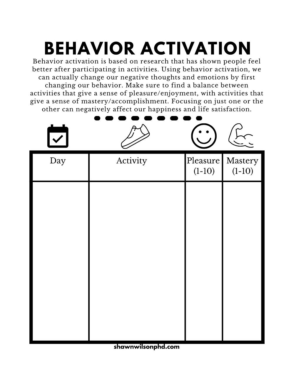Behavior activation worksheet