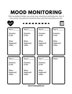 Mood Monitoring Worksheet