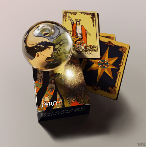 Observational Digital Painting - Tarot Card Deck with Glass Globe