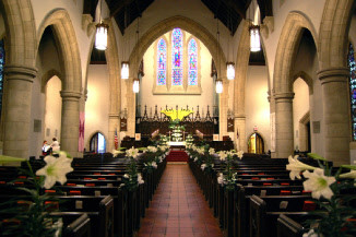 Church Sanctuary decorated for Easter Sunday Worship