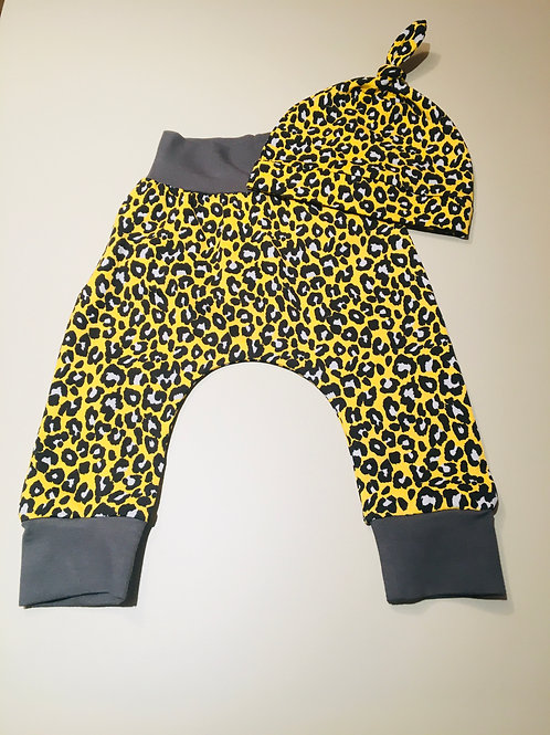 Harem pants and hat set in leopard print with grey trim