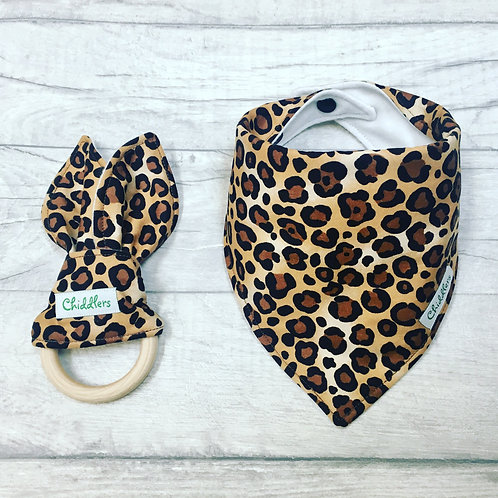 Leopard print dribble bib and teether set