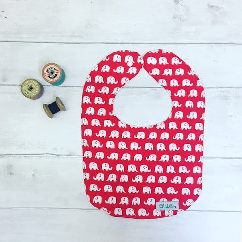 Red elephant print baby bib