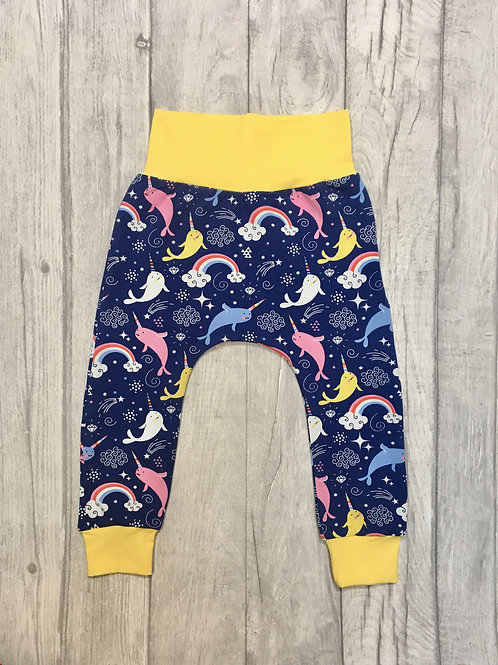 Harem pants cute Narwal fabric with yellow waistband and cuff