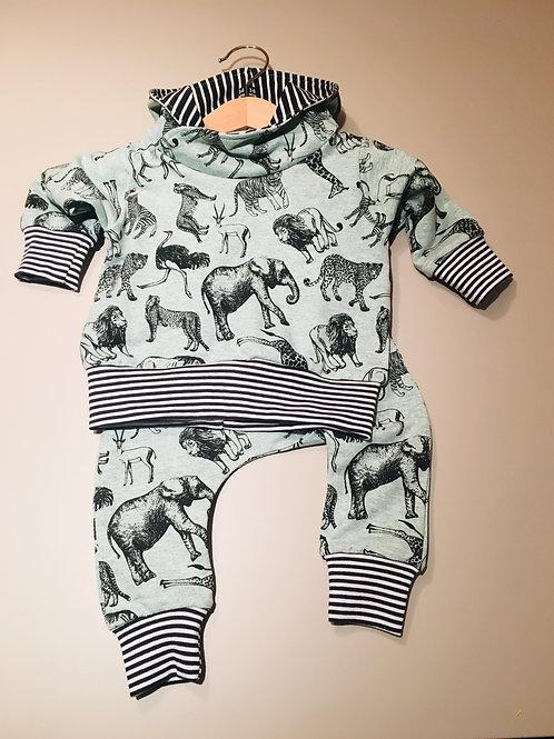 Hoodie and harem set in mint safari fabric