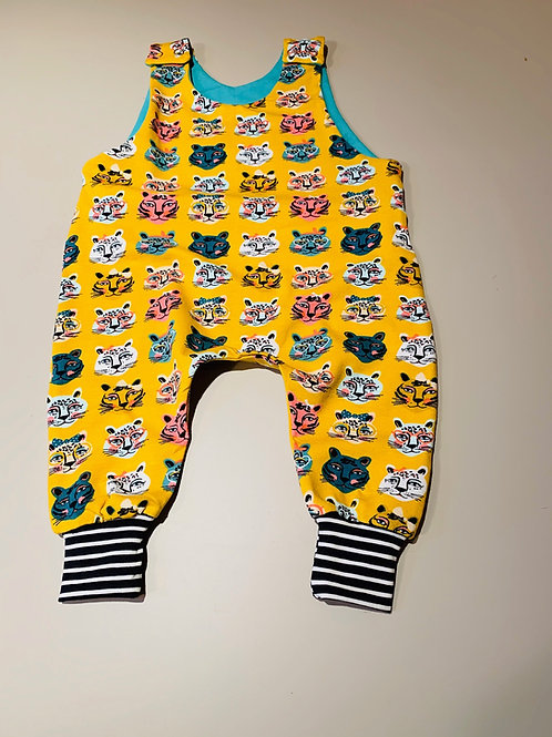 Dungarees harem romper in Quirky Cats fabric with stripe trim