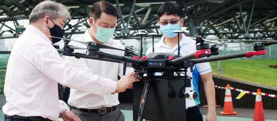 Senior Minister of State (Dr Lam Pin Min) witnessed drone delivery of Care Packs