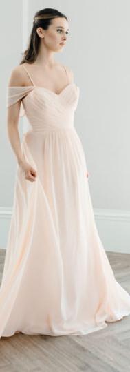 Cold shoulder, sweetheart neckline bridesmaid dress
