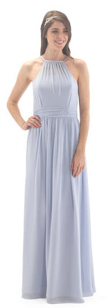 High neck chiffon Bridesmaid dress