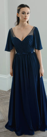 Bridesmaid dress with floaty sleeves