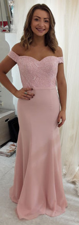 Off the shoulder lace and chiffon Bridesmaid dress