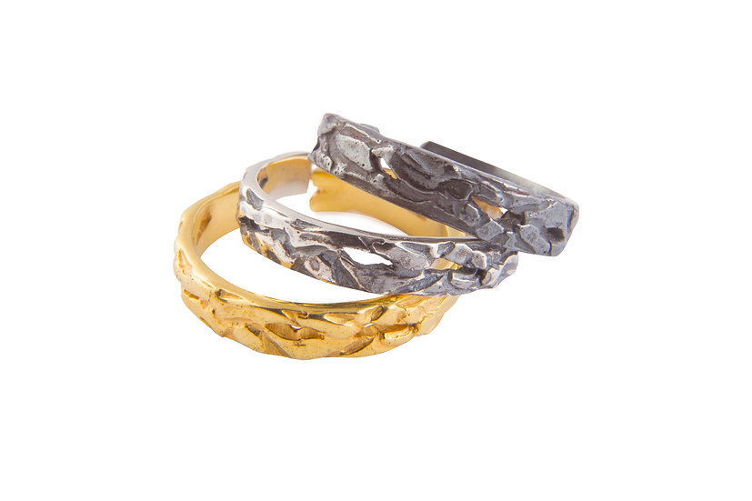 MOTION 14- 3 RINGS - Oxidized Sterling Silver 925 & 21K Gold Plated