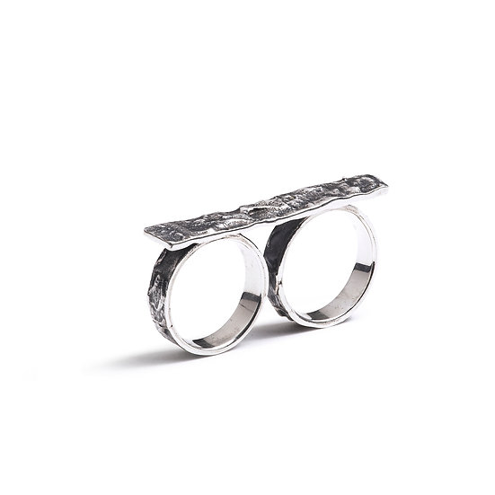 SARAPU TWO FINGER RING - Oxidized Sterling Silver 925