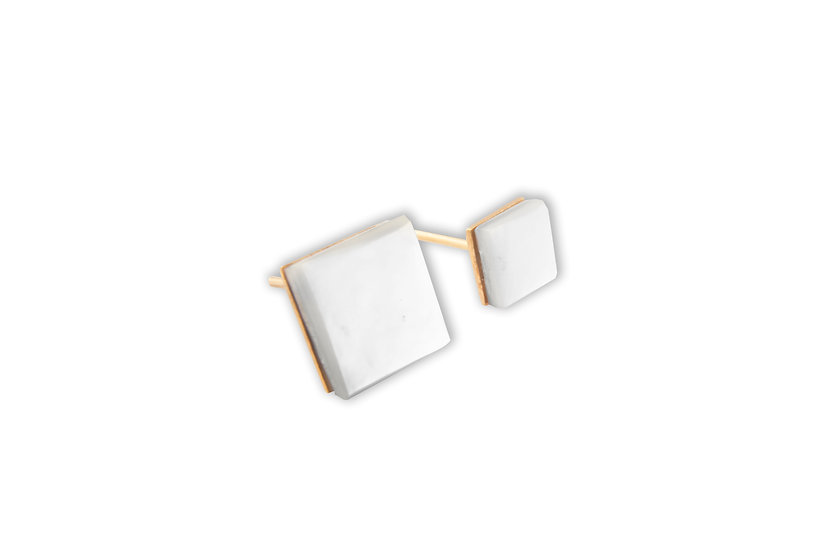 MOTION 3 EARRINGS - Sterling Silver 925, 21K Gold Plated & Mother of Pearl