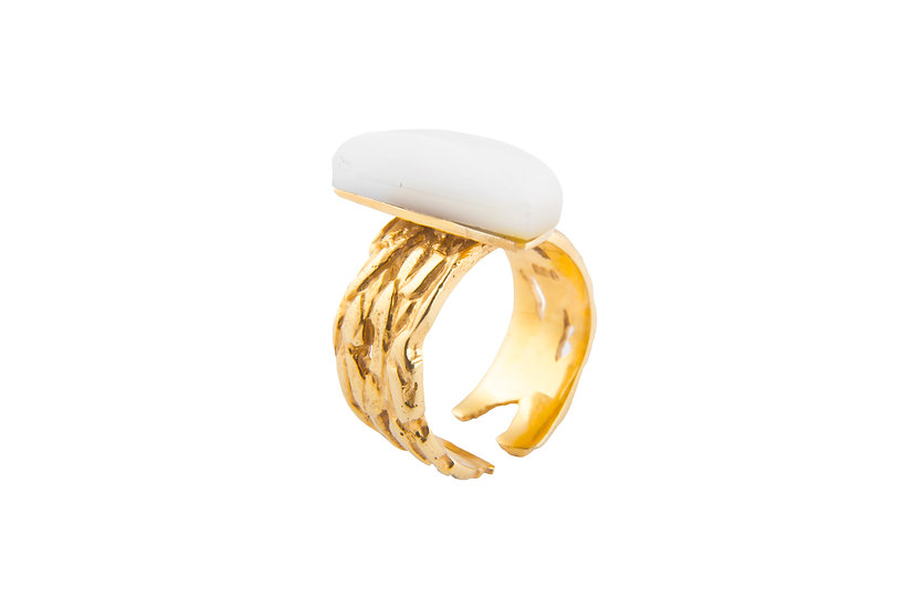 MOTION 13 RING - Sterling Silver 925, 21K Gold Plated & Mother of Pearl