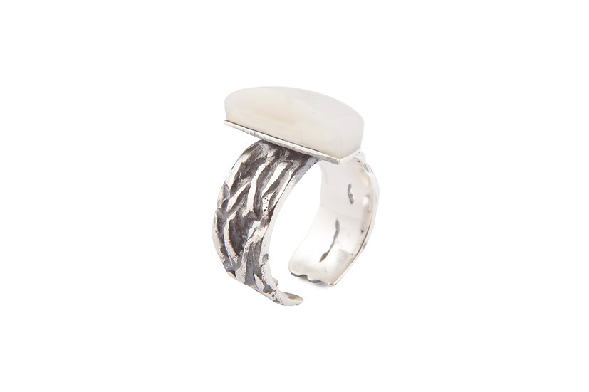 MOTION 12 RING - Oxidized Sterling Silver 925 & Mother of Pearl