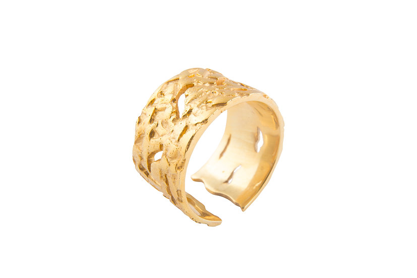 MOTION 11 RING - Sterling Silver 925 & 21K Gold Plated