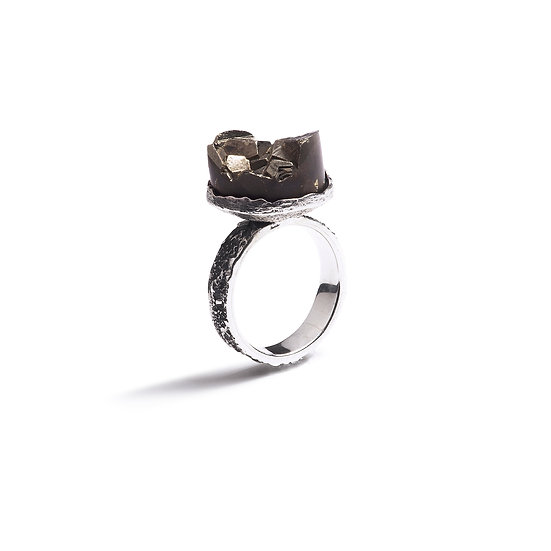CHACHANI RING - Oxidized Sterling Silver 925 & Pyrite