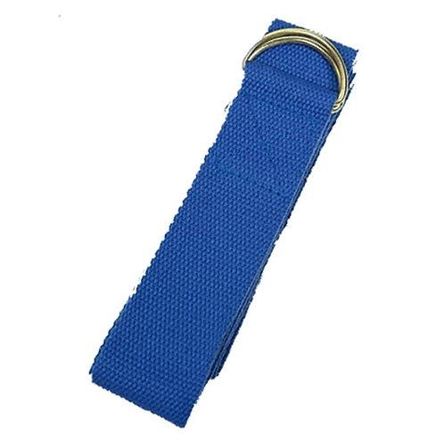 Yoga riem katoen - 183x4 cm - blauw