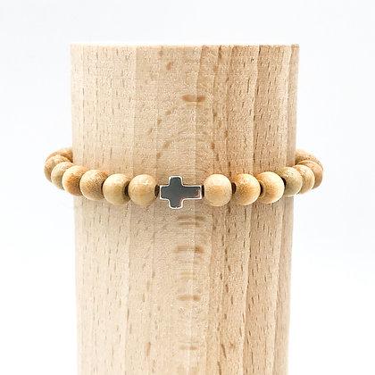 Bracelet Rive Doux Croix Horizon Argent