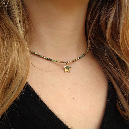 Collier Rive Doux Perles & Etoile Or