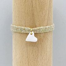 Bracelet Petit Amour Sable Blanc & Coton recyclé