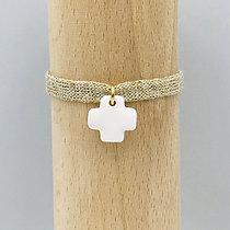 Bracelet Petit Notre Dame Sable Blanc & Coton recyclé