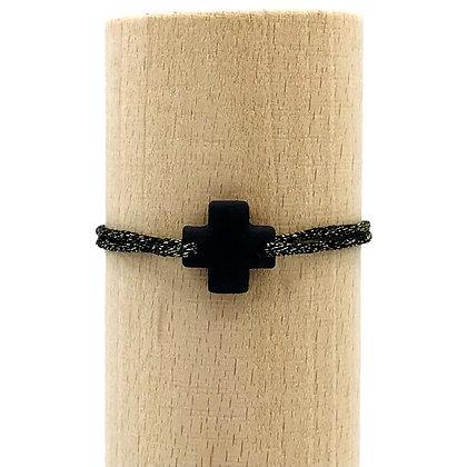 Bracelet Petit Notre Dame 2T Sable Noir & Lien Mokuba