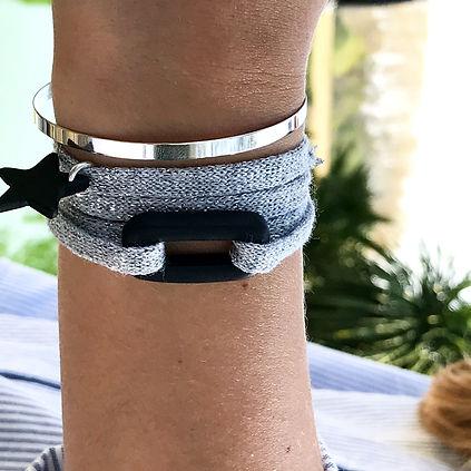 Bijoux Maison Joseph - Bracelet O de OceanSide Sable Noir & Coton Recyclé