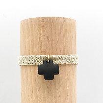 Bracelet Petit Notre Dame Sable Noir & Coton recyclé
