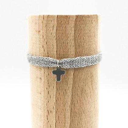 Bracelet Petit Baigneur Coton &  Croix Argent