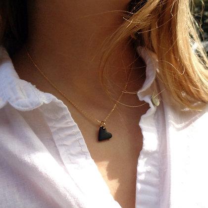 Collier Petit Amour Sable Noir sur Chaine Or