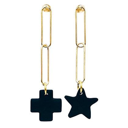 Boucles d'Oreilles Double Ocean Sable Noir