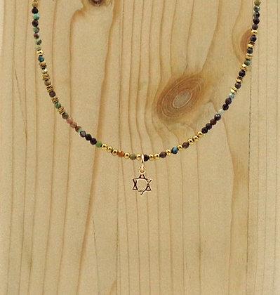 Collier Rive Doux Perles & Etoile de David Or