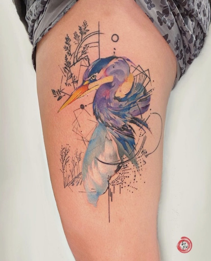 watercolor heron