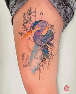 watercolor heron
