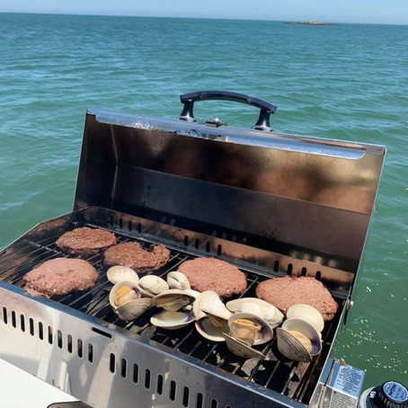 """The Drift crew aboard """"Drifta'"""" Grilin' and Chillin' New England style at West Island's East Cove"""