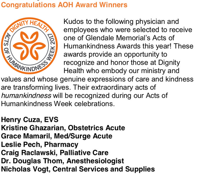 Congratulations to Dr. Douglas Thom for being awarded AOH from Dignity Health